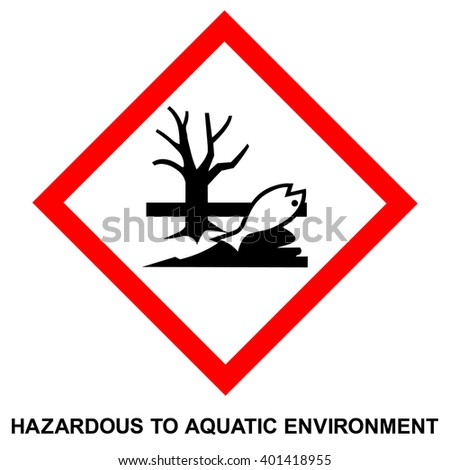 GHS hazard pictogram - HAZARDOUS TO AQUATIC ENVIRONMENT , hazard warning sign HAZARDOUS TO AQUATIC ENVIRONMENT , isolated vector illustration