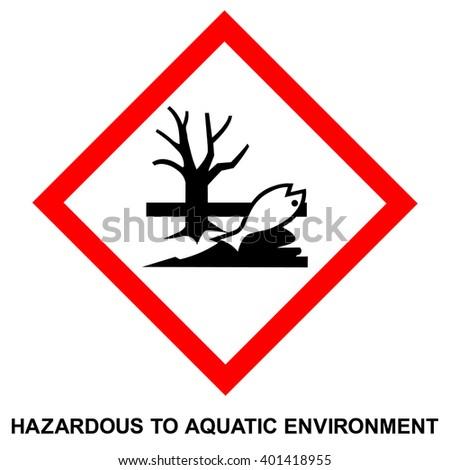 GHS hazard pictogram - HAZARDOUS TO AQUATIC ENVIRONMENT , hazard warning sign HAZARDOUS TO AQUATIC ENVIRONMENT , isolated vector illustration