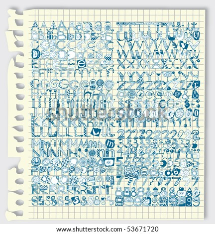 Giant Alphabet Set in Notebook (Vector)