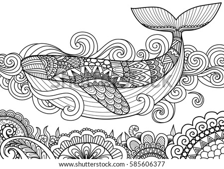 Shutterstock Giant beautiful whale swimming in the ocean over beautiful coral, design for coloring book page,T-Shirt design, pillow cover design and other design element