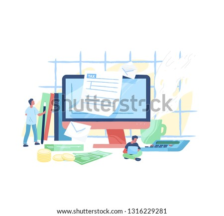 Giant computer, tiny people or taxpayers sitting beside and filling in tax form, money bills and coins. Personal taxation, income or revenue calculation. Modern vector illustration in flat style. Stock photo ©