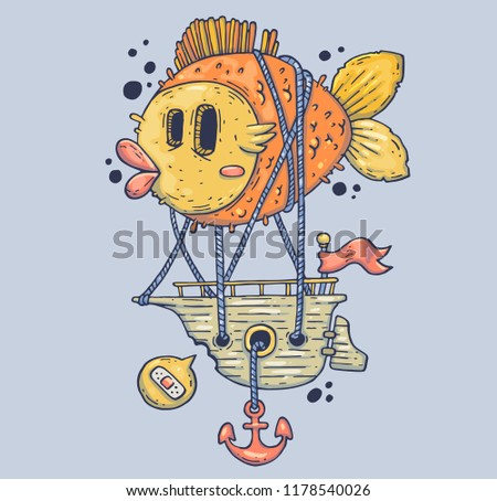 Giant fish and sea ship. Cartoon illustration for print and web. Character in the modern graphic style. Trendy style.