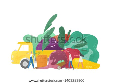 Giant fruits and vegetables, truck and group of tiny people, agricultural workers or farmers isolated on white background. Natural organic fresh food. Agriculture or farming. Flat vector illustration.