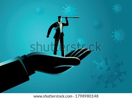 Giant hand lifting up a businessman using telescope with covid-19 viruses on the background. Covid-19 impacts to business, business vector illustration series