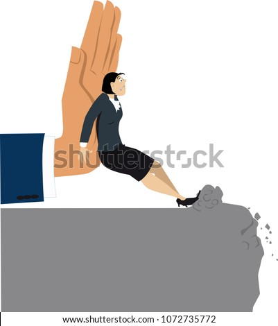 Giant hand pushing a resisting woman towards an abyss, EPS 8 vector illustration