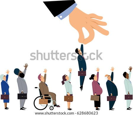 Giant managerial hand picking up a white male from a line of a diverse job candidates as a metaphor for a discrimination during an employment interview, EPS 8 vector illustration