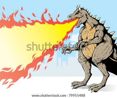 giant monster  spewing flames