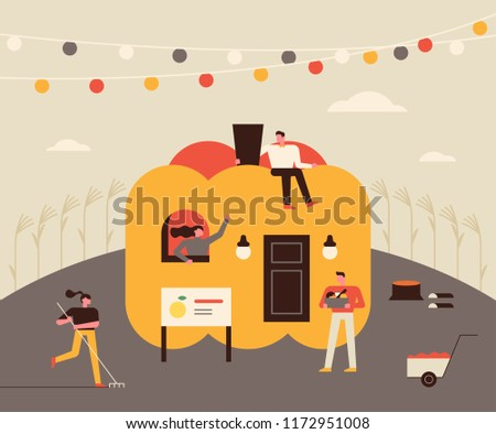 Giant pumpkin house and small people character. Autumn concept seasons card. flat design style vector graphic illustration set
