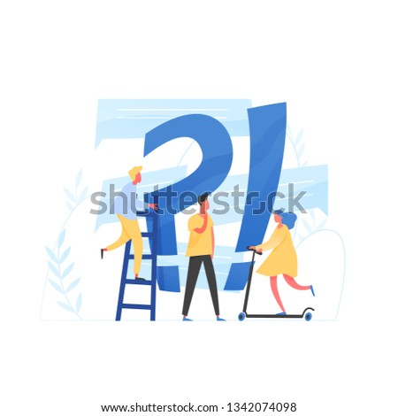 Giant question mark and interrogation point and tiny people. Concept of FAQ, user manual or guide, customer support, search of useful information for problem solving. Flat colored vector illustration.