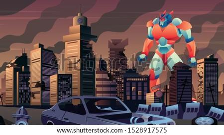 giant robot walking in city in