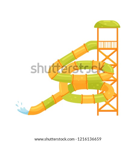 Giant spiral tube water slide. Extreme attraction. Equipment for aqua park. Flat vector illustration
