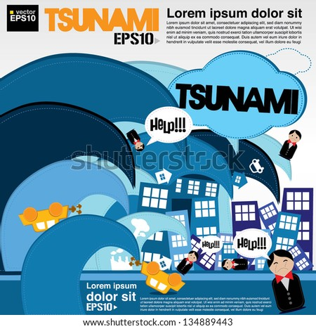 Giant wave attacks the town illustration vector.EPS10