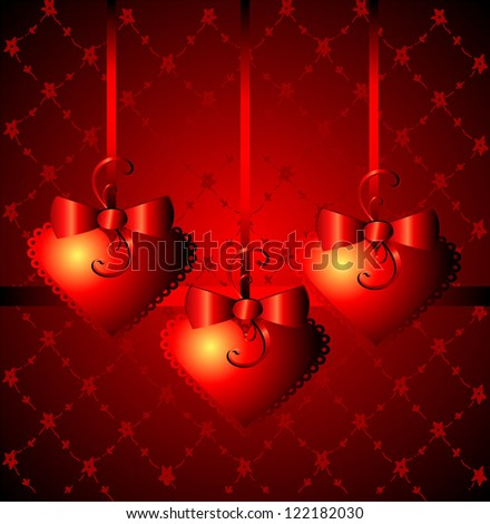 Gift background with heart\'s shapes