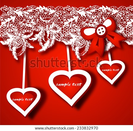 Gift background with heart\'s shapes and lacy decor