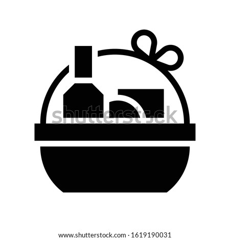 Gift basket vector illustration, solid style icon Stock photo ©