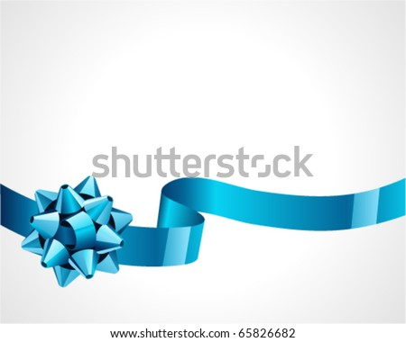 Gift blue bow vector background
