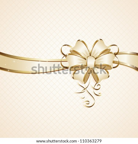 Gift bow on beige background, illustration.