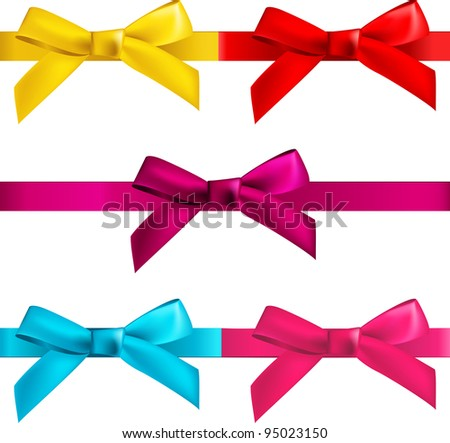 gift bows with ribbons isolated on white
