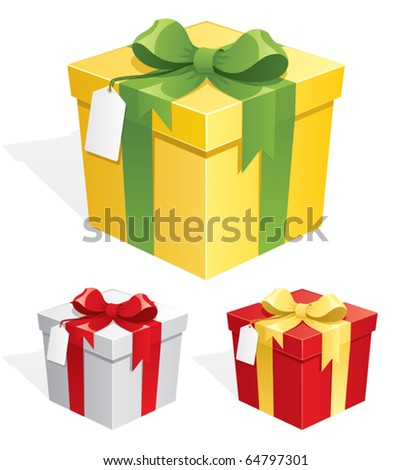 Gift Box: A gift box in 3 color versions. No transparency used. Basic (linear) gradients used.