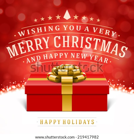 Gift box and and ribbon vector background Merry christmas message
