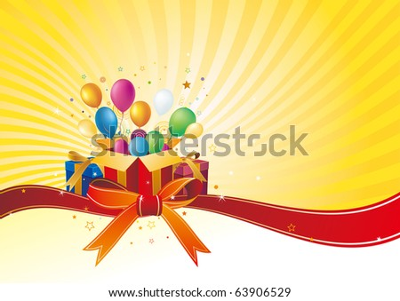gift box and balloon,vector celebration background