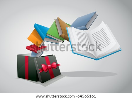 Gift box and books. Vector illustration.