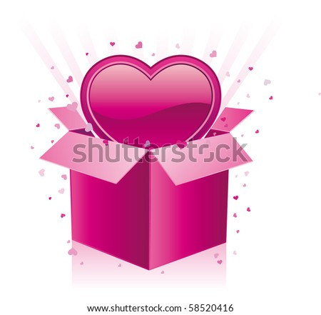 gift box and heart on a white background