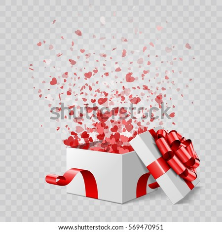 Gift Box and Hearts Confetti Isolated. Easy replace backdrop. Vector Design element.