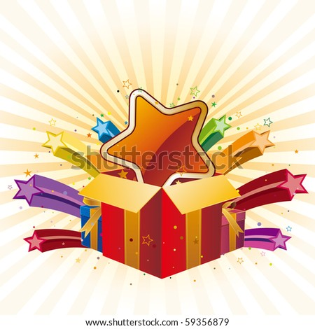 gift box and star,vector celebration background - stock vector