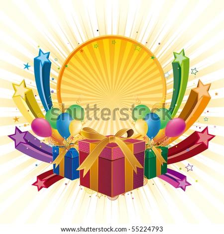 gift box,balloon,star,celebration background