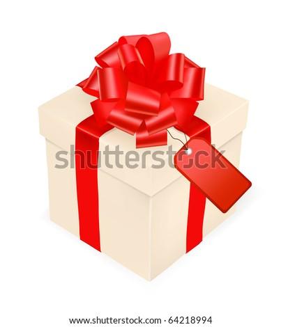 Gift box, bow and ribbon and card. Vector.
