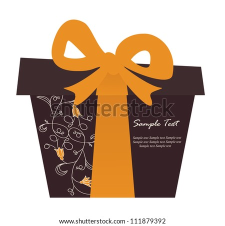 Gift box card with floral elements. Vector illustration.