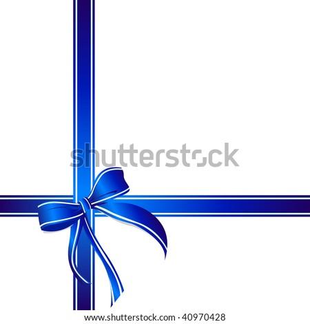 Gift box decorative blue ribbon vector stock vector
