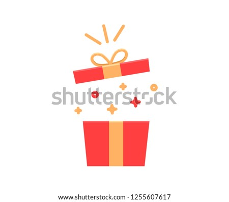 Gift box exploding with sparkles and confetti. Vector flat icon illustration for birthday, christmas, promotions, contests, marketing, etc