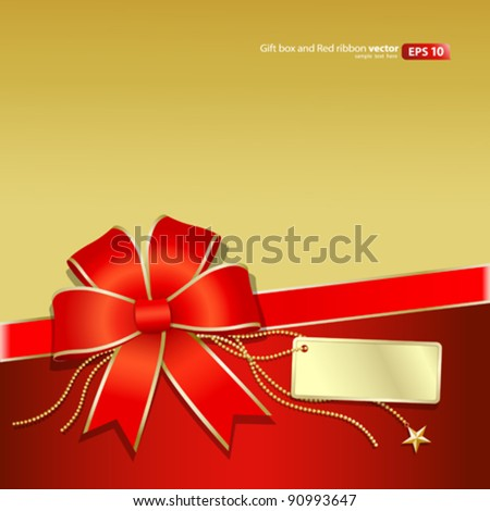 Gift box Gold and Red ribbon vector Christmas and new year 2012