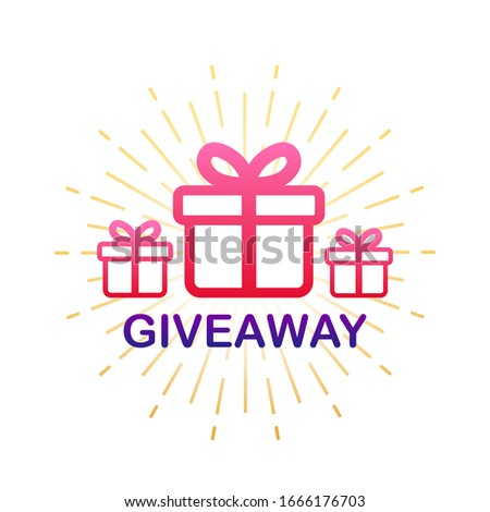 Gift box icon design template. Giveaway. Typography design. Post box. Winner banner. Vector stock illustration.