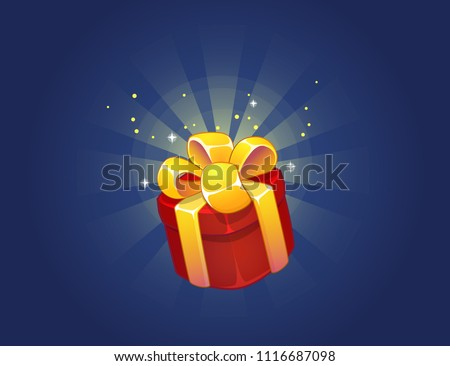 Gift Box Icon for a game interfaces. Funny cartoon gift box. Birthday present. Reward Vector icon. Getting rewards in  game. GUI set elements for mobile, video or web games. User Interface Icon Design