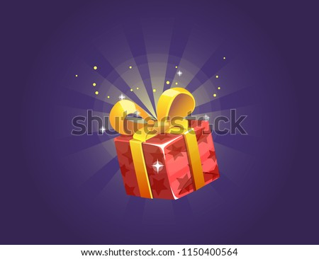 Gift Box Icon for a game interfaces. Funny cartoon gift box. Reward Vector icon. Getting rewards in a game. GUI set elements for mobile, video or web games.