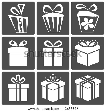Gift box icon set different styles. Vector illustration