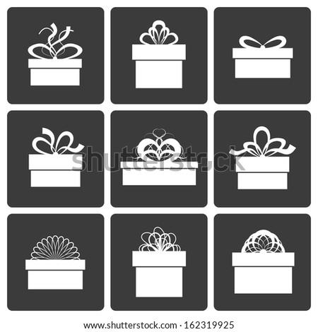 Gift Box Icons, Holiday Presents, Vector Illustration