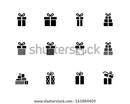Gift box icons on white background. Vector illustration.