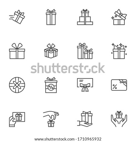 Gift box line icons set, outline vector symbol collection, linear style pictogram pack. Signs logo illustration. Set includes icons as birthday present, box with bow ribbon, surprise package