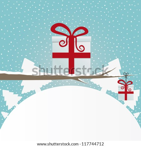 gift box on branch snowy winter landscape - stock vector