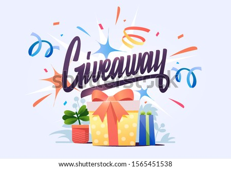 Gift box, on confetti background with hand lettering giweawey. Giveaway enter to win poster template design for social media post or website banner. Vector illustration