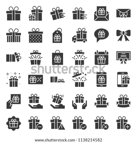 Gift box or present box icon, solid style