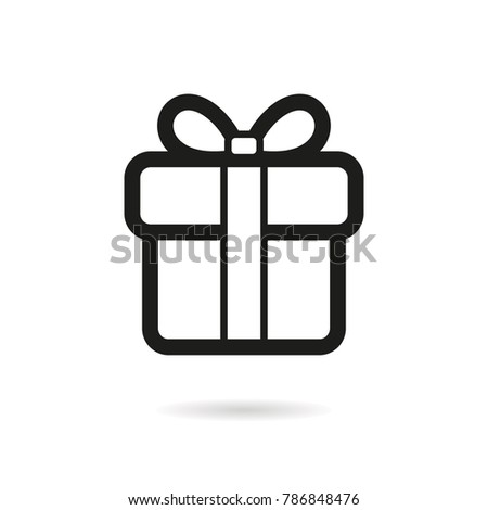 Gift Box - outline vector icon. Black pictogram isolated on a white background. Line symbol for design, logo, infographic and website.