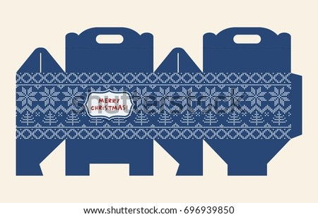 Gift box pattern. Template. Box design, die-stamping. Greeting packaging with Christmas pattern. Presents packing. Vector