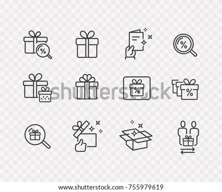 Gift box, present, discount offer line icon set isolated on transparent background. Price tag, gift card, search sale signs. Vector outline stroke symbols for christmas, New Year surprise design