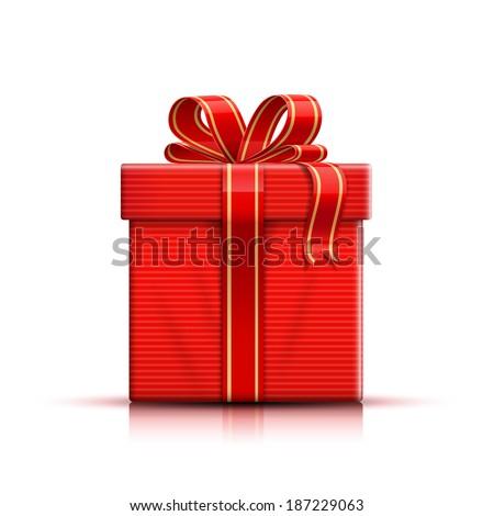 Gift box, ribbon and bow. Vector illustration