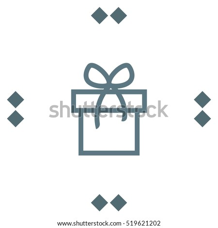 Gift box sign line vector icon. Present sign vector icon. Present with bow symbol.